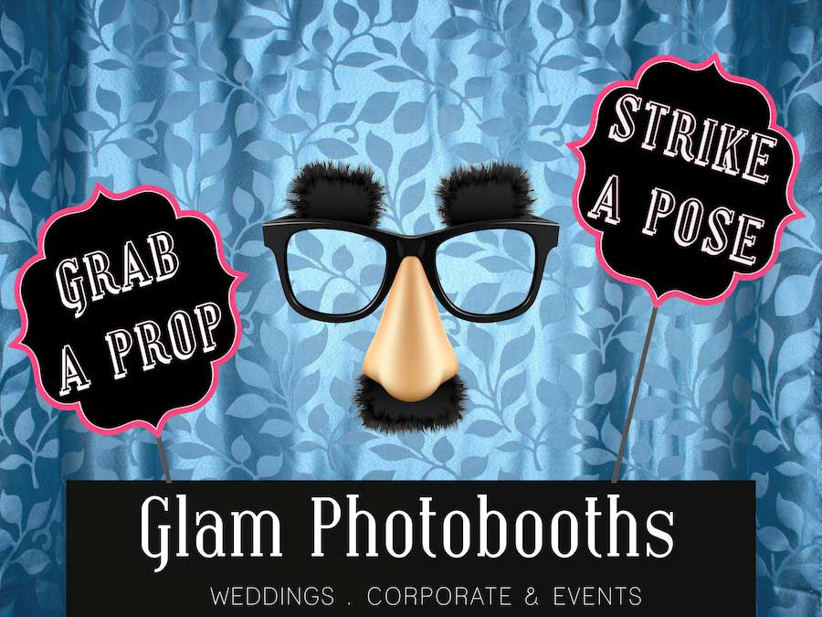Glam Photobooths Classic Photo Booth Backdrop - Blue Leaves