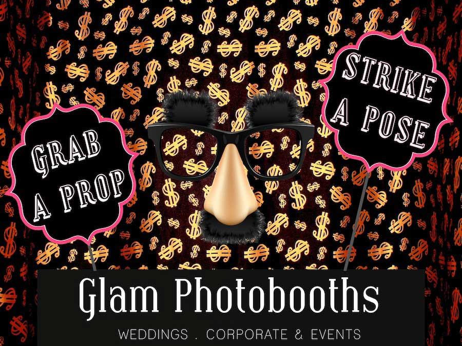 Glam Photobooths Classic Photo Booth Backdrop - Bling Dolla Signs
