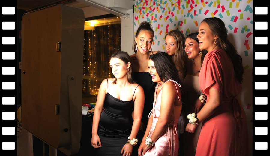 Glam Photobooths Guests posing at Selfie Station Open-Air Photo Booth