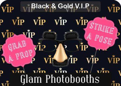 Black & Gold VIP Photo Booth Backdrop with Glam Photobooths Logo