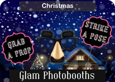 Christmas Photo Booth Backdrop with Glam Photobooths Logo
