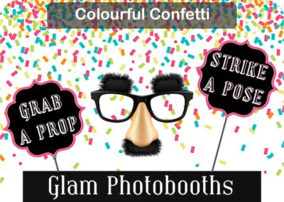 Colourful Confetti Photo Booth Backdrop with Glam Photobooths Logo