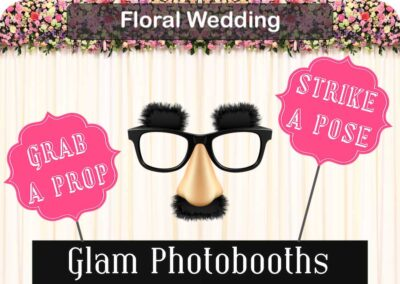 Floral Wedding Photo Booth Backdrop with Glam Photobooths Logo