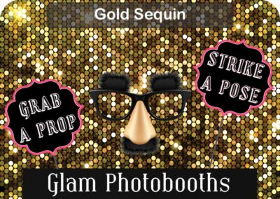 Gold Sequin Photo Booth Backdrop with Glam Photobooths Logo