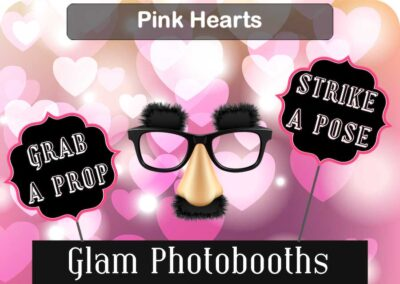 Pink Hearts Photo Booth Backdrop with Glam Photobooths Logo