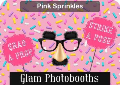 Pink Sprinkles Photo Booth Backdrop with Glam Photobooths Logo